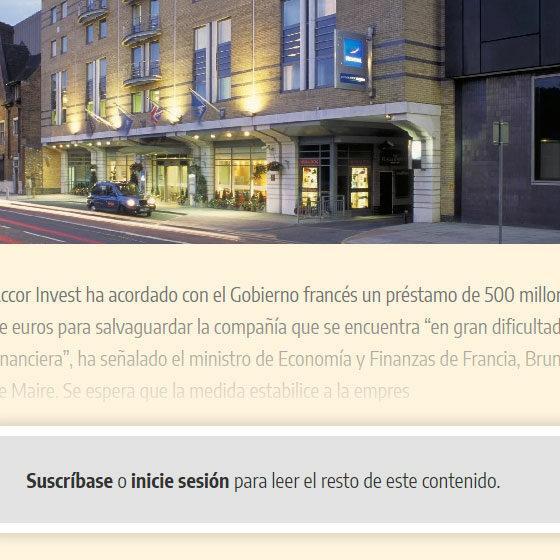 Desarrollo Hotelero - Digital informativo con muro de pago / paywall